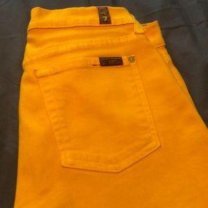 Mustard yellow 7 skinny jeans